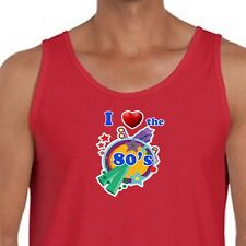 I Love The 80's Funny Retro Heart T-shirt Party Costume Kitsch Men's Tank Top