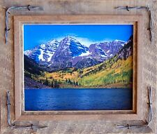 Salvaged Reclaimed Wood Picture Frame-Hobble Creek with Barbed Wire