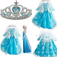 Frozen Disney Princess Girl Queen Elsa Anna Cosplay Costume Party Fancy Dress #