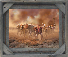 Salvaged Reclaimed Wood Picture Frame-Corner Block with Barbed Wire