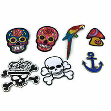 Mexican Candy Sugar Skull Tattoos Aztec Punk Embroidered Iron On Patch Applique