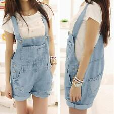 Women's Washed Jeans Denim Torn Jeans Straps Shorts Overall Romper Jumpsuit S-XL
