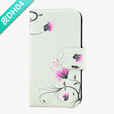 Pink And Black Flower Leaves PU Leather Flip Case Cover For Sony Xperia 04