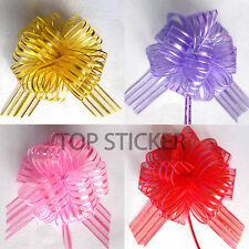 "6"" Pom Pom Bow 50MM LARGE ORGANZA RIBBON PULL BOWS WEDDING PARTY GIFTWRAP UK"