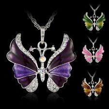 New Womens Charm Silver Rhinestone Butterfly Necklace Crystal Pendant Chain gift
