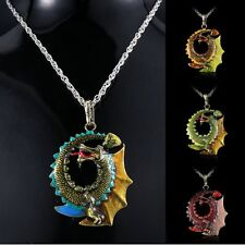 Vintage Dragon Crystal Pendant Necklace Choker Sweater Silver Chain Women Party