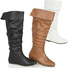 Womens Black Leather Look Low Heel Riding Biker Flat Ladies Knee High Boots Size