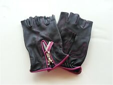 Womens Hot Pink & Black Leather Fingerless Motorcycle Gloves Biker  Unik Premium