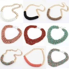 Womens Multicolor Bohemian Handmade Braided Knot Beads Collar Necklace