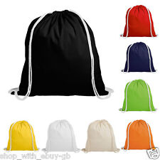 20 x 100% Cotton Drawstring Bags - Sports Gym Eco School Swimming Tote Shoulder