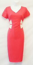 New Ladies Retro 1950s Vtg Style Pink Beige Work Office Wiggle Pencil Dress