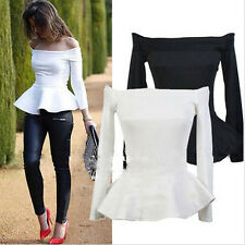 Sexy Womens Long Sleeve Off-shoulder Tops Slim Fit Peplum Swing Shirt Blouses