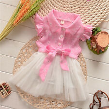 Lovely Baby Toddler Girls Princess Party Lace Tutu Bow Floral Dress 0~3Y