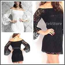 Stylish Women Off Shoulder Lace Mini Dress Clubwear Bodycon Party Top Blouse