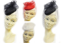 New Ladies Vtg 1940s Summer Retro WW2 Wartime Pin-up Pill Box Hat with Veil