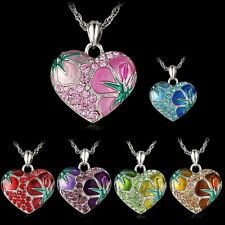 Fashion Love Flower Crystal Rhinestone Silver Heart Chain Pendant Necklace Gift