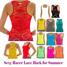 Ribbed Full Floral Lace RacerBack Womens Sleeveless Sexy Tank Top Shirt TEE Cami