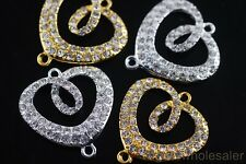 New 2/10pcs Crystal Rhinestone Charms Bracelet Findings Spacer Connectors 30mm