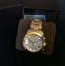 NEW Michael Kors silver & gold two-tone chronograph watch in box