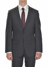 DKNY Slim Fit Dark Gray Striped Two Button Wool Suit