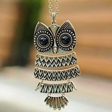 Owl Pendant Free shipping Retro Vintage Bronze Necklace Long Chain Jewelry NEW