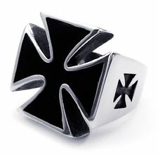 Mens gothic biker band party ring black cross stainless steel punk NG