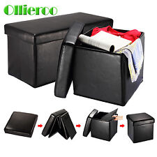 Ollieroo New Folding Ottoman Storage Box Seat Chest Footstool Bench Brown