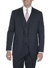 Alfani RED Slim Fit Navy Blue Pinstriped Two Button Three Piece Wool Blend Suit