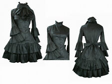 Ladies Black Long Sleeve Layered Lolita Gothic Punk Cosplay Gown Ball Dress