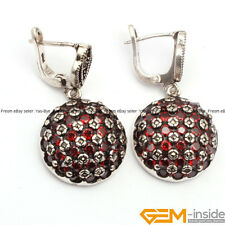 20MM Fashion Ball Gemstone Antiqued Tibetan Silver Marcasite Stud Earrings Gift