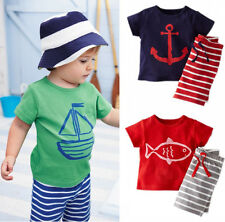 2015 New Baby Kids Boys Casual Clothes Suit Tops T-shirt Pants Outfits set 0~5Y