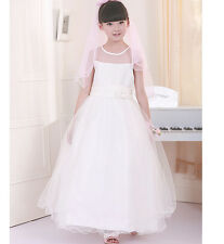 White First Holy Communion Dress Mesh&Lace Flower Girl Birthday Do Party Dress