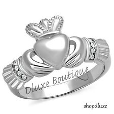 Women's Stainless Steel Irish Claddagh CZ Promise Friendship Ring Band Size 5-10