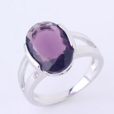 18K white gold filled Solitaire purple sapphire crystal Fashion rings Sz6to10