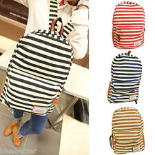 Women Girls Canvas Fashion Backpack School Bag Rucksack Campus 4 Colors Stripe