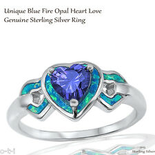 Heart Love Blue Sapphire CZ Wedding Engagement Blue Opal Sterling Silver Ring
