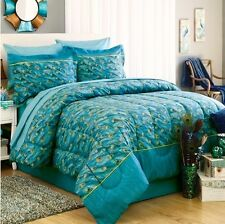 PEACOCK FEATHERS Teal Blue Green Exotic Bird Bedding 6-8p Comforter Set & Sheets