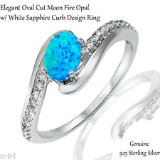Elegant Oval Cut Blue Fire Opal White Sapphire CZ Genuine Sterling Silver Ring