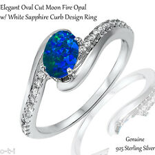 Elegant Oval Dark Blue Fire Opal White Sapphire CZ Genuine Sterling Silver Ring