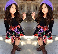 2015 New Baby Kids Girls Dress Tops Shirt+Skirt Flower 2-Pieces Outfits set 1-6Y
