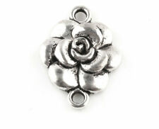 10/20/50/100PCS Rose Flower Tibetan Silver Charms Crafts Findings Connectors