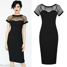 Womens Pencil Dress Lace Short Sleeve Backless Bodycon Party Cocktail Clubwear