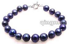 "SALE Big 8-9mm natural Black  freshwater Pearl 7.5"" bracelet-bra274"