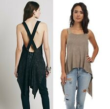 NEW Free People Black Birch Strappy Back Sweater Knit Utility Tank Top XS S M L