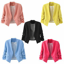 Women Fashion Candy Color Puff Sleeve Buttonless Suit Office Blazers Jacket Coat
