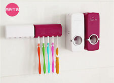White /Red Wall-Mounted Bathroom Tool Auto Toothpaste Dispenser Brush Holder Kit