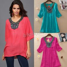 PLUS SIZE Women Lady Short Sleeve Embroidery Loose T-Shirt Casual Blouse Top NEW