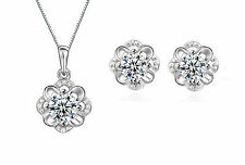 925 Sterling Silver Rose Flower Cubic Zirconia CZ Crystal Necklace Earrings Set