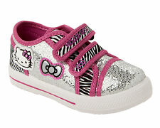 GIRLS HELLO KITTY SILVER PINK SEQUIN VELCRO SKATE TRAINERS SHOES UK SIZE 7-1
