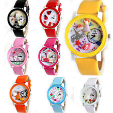 A US NEW Womens Girls Wrist Watches Quartz Delicate Polymer Leather Cute Dial